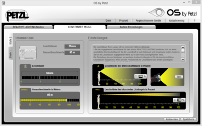 Dialog eigenes Profil definieren von Petzl NAO - Mein Test der Stirnlampe