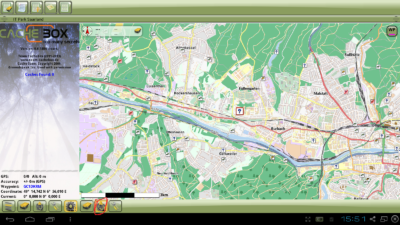 Installation Offline-Karte in Cachebox Geocaching App - Kartenbildschirm