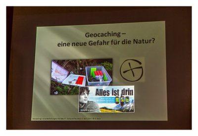 """Titelfolie des Vortrages """"Geocaching - eine neue Gefahr für die Natur?"""""""