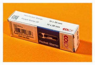 Geocaching-Stempel-Test: Pocket Stamp 20 von Colop - Verpackung