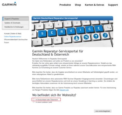Garmin Support - Webseite 1