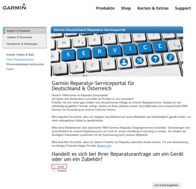 Garmin Support - Webseite 2