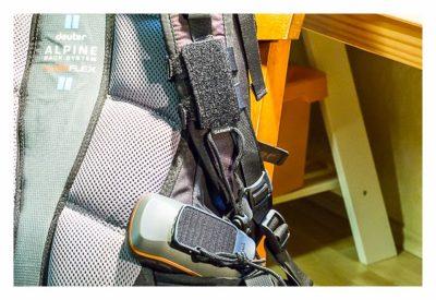 GPS-Halterung: Mein Test - Backpack tether am Rucksack mit entferntem GPS