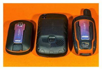 GPS-Halterung: Mein Test - Rückseiten von drei GPS-Geräten