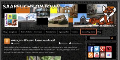 Geocaching-Nachrichten: Screenshot von saarfuchs.com