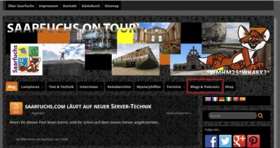 "Screenshot von Saarfuchs on Tour! Menüpunkt ""Blogs & Podcasts"""