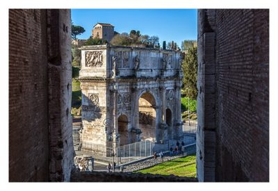 Rom: Geocaching bei den alten Römern: Kolosseum - Blick auf dem Konstantin-Bogen