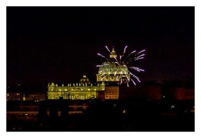 Rom: Geocaching über Silvester - Piazza del Popolo: Feuerwerk über dem Vatikan
