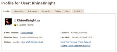 Ältester Geocache Deutschlands - Profil des Owners RhineKnight