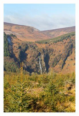 Wicklow-Mountain: Powerscout-Wasserfall in der Ferne