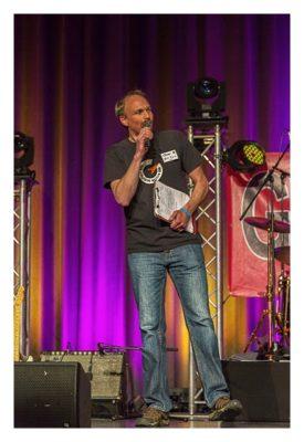 """Geocaching Giga-Event """"Gutenberg 2015"""" - Oli bei der Moderation"""