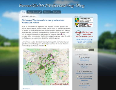Blogvorstellung FerrariGirlNr1s Geocaching-Blog: Screenshot vom Blog