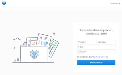 Dropbox für Geocacher: Screenshot Dialog zur Erstellen eines Kontos