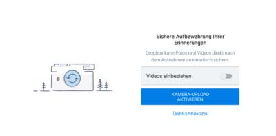 Dropbox für Geocacher: Screenshot Kamera Upload aktivieren