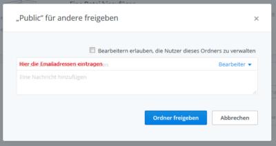 Dropbox für Geocacher: Screenshot Einladung verschicken