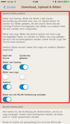 Offline-Geocaching mit Looking4Cache: Screenshot die richtigen Downloadeinstellungen