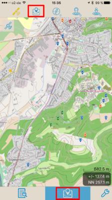 Offline-Geocaching mit Looking4Cache: Screenshot Kartenansicht