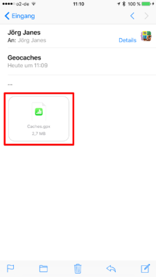 Offline-Geocaching mit Looking4Cache: Screenshot gpx-per Mail empfangen