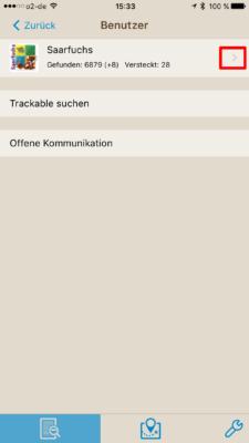 Offline-Geocaching mit Looking4Cache: Screenshot Benutzer auswählen