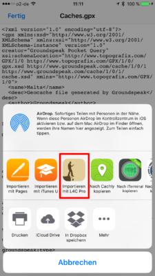 Offline-Geocaching mit Looking4Cache: Screenshot gpx exportieren nach L4C