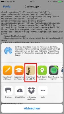 Offline-Geocaching mit Looking4Cache: Screenshot gpx exportieren nach L4C