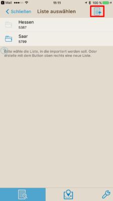 Offline-Geocaching mit Looking4Cache: Screenshot Liste erstellen