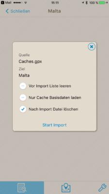 Offline-Geocaching mit Looking4Cache: Screenshot Listenoptionen einstellen