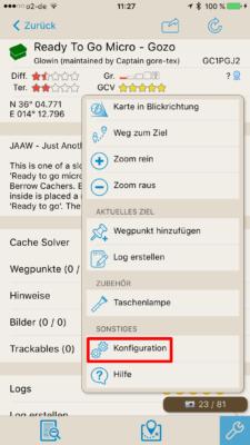 Offline-Geocaching mit Looking4Cache: Screenshot Konfiguration aufrufen
