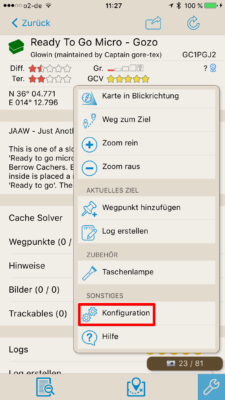 Offline-Geocaching mit Looking4Cache: Screenshot Konfiguration aufrufen