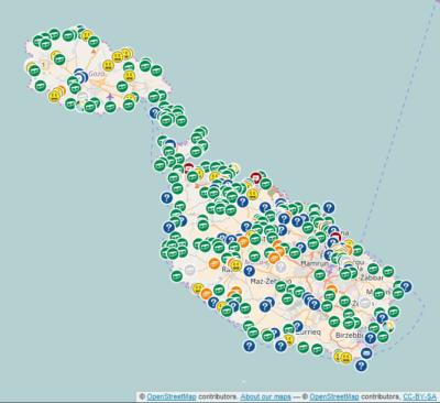 Geocaching auf Malta - die Karte mit den Geocaches