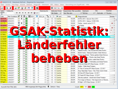 GSAK-Statistik: Länder-Fehler beheben