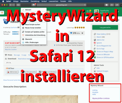Mystery-Wizard unter MacOS Mojave in Safari installieren