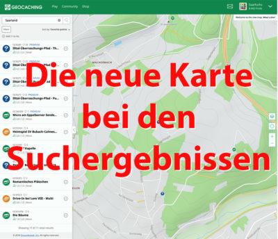 Die neue Karte bei der Suche auf geocaching.com