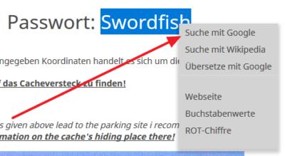 Screenshot vom Kontextmenü bei markiertem Text