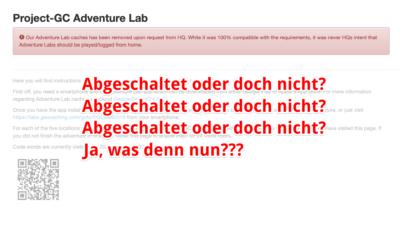 Kurznachricht: HQ beendet die Couch-Labcaches bei project-gc.com!