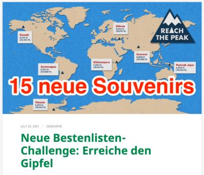 "Neue Souvenir-Aktion ""REACH THE PEAK"""